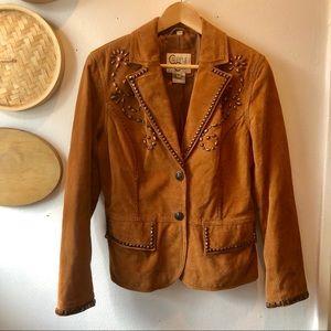 Vintage genuine leather studded jacket